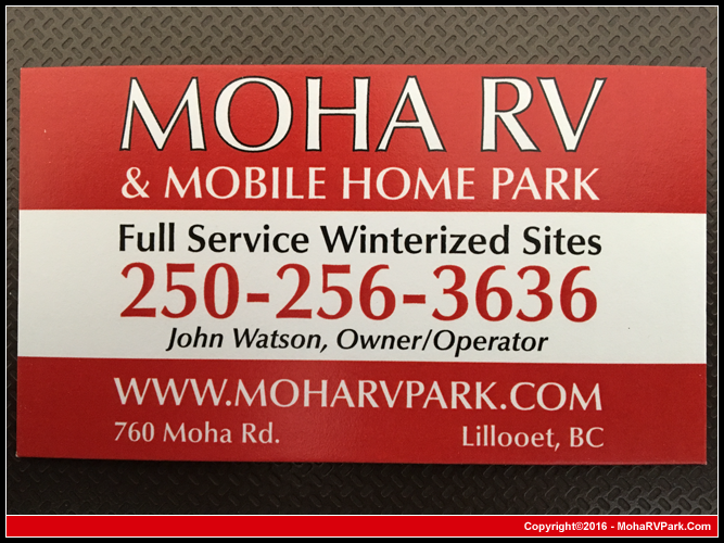 Mobile Home Park In Lillooet British Columbia Business Card 250 256 3636